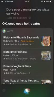 Esempio Vocal Search con le pizzerie più vicine